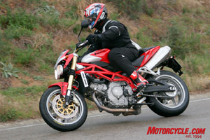 Yossef attempts to put down a surplus of torque to wet Spanish roads.