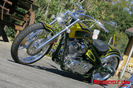 Board tracker style and dripping with candied green paint, the 2009 BDM Pitbull is a rigid yet friendly street rod.