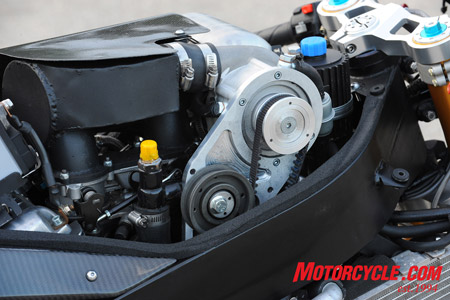 A belt-driven Rotrex supercharger is the key to big power.