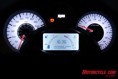 Elegant guages show MPH/Km/H, Tachometer, Fuel, Engine temp, time and odometer. You can also see the battery light. There is also a �side stand down� light and an �under seat storage is open� light.