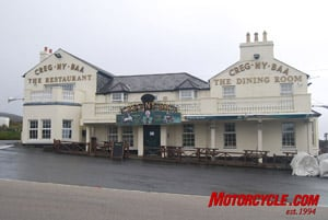 The famous Creg Ny Baa pub along the TT course is a popular location from which to watch the race. And you can get some good, hearty Manx food and a pint there, as well.