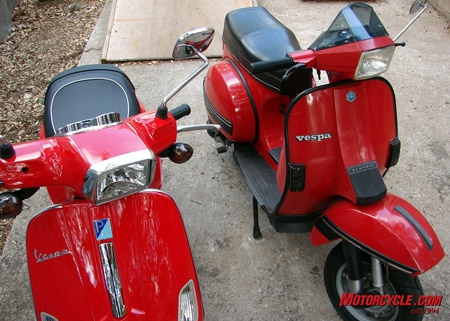 2008 Vespa S on the left and 1985 Vespa T5 on the right.