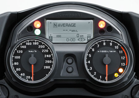 "In the updated LCD and dash area we can see indicators for K-ACT and KTRC. The double circle in the lower right of the LCD is displaying high-combined mode of the linked ABS (K-ACT). When in low-combined the ""parenthesis"" around the circles disappears. The lower orange KTRC indicator in the tachometer is illuminated when KTRC is disabled. When enabled the light is off, and when KTRC is working it flashes."