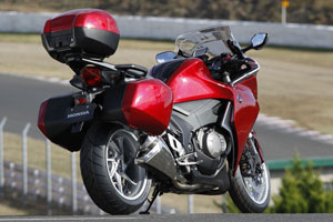 Although Honda doesn't like to call the VFR a sport-touring bike, optional hard luggage certianly offers that capability.