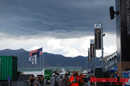 Dark storm clouds lingered ominously on and off throughout the Miller WSBK event. BMW hopes this was just simple weather and not a dark omen of the future success of the all-new S1000RR.