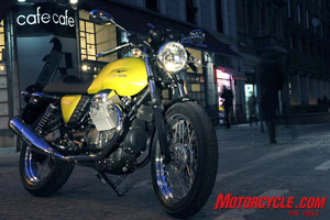 The Moto Guzzi V7 Café Classic is right at home in the streets of Rome.