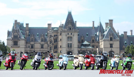 The Biltmore Estate and the surrounding highways of Asheville, NC made for a beautiful backdrop to Kymco's 2010 model introduction.