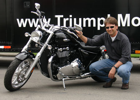 Californian designer Tim Prentice with his latest creation, the 2010 Triumph Thunderbird.