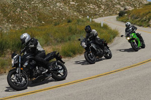 The Versys is led by the ER-6n and followed by the Ninja 650R. Don�t let the green bike�s racer looks deceive you. The Ninja has nothing on the Versys when the roads get twisty.