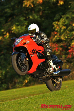 Suzuki claims a 21-horsepower increase in the new Busa, which should yield about 175 ponies at the rear wheel. Yee haa!
