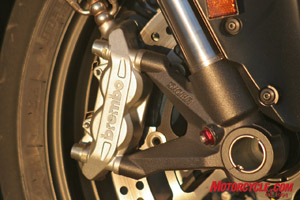 Two-piece Brembo calipers are radially mounted to the inverted Showa fork. Though lower-spec items compared to the 1098's monobloc design, they provide plenty of power without a harsh initial bite.