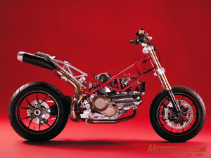 Stripped Hypermotard shows its minimalist engine-with-wheels design that demonstrates effective mass centralization.