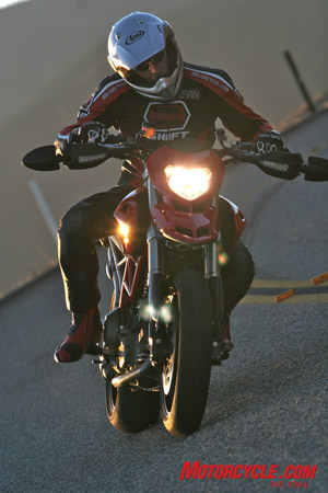 With the Hypermotard, you�ll want to continue chasing apexes even after sundown.