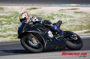 Test rider Jeremy McWilliams, a former MotoGP pilot, puts the S1000RR development bike through its paces.