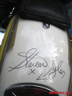 A Steven Tyler autograph is a no-extra-charge option on every Dirico motorcycle. Photo by the author.