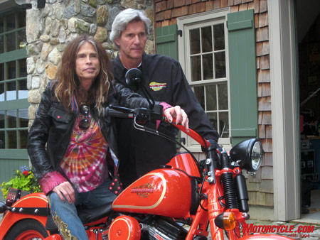 Aerosmith�s Steven Tyler is getting into the bike-building business with his engineering neighbor, Mark Dirico. Photo by the author.