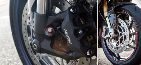 2013 Triumph Daytona 675 vs 675R brake and fork