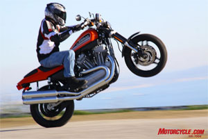 The XR1200 will rearrange your perception of Harley-Davidson performance. Here Pete imagines himself taking the checkered flag at the Springfield Mile.