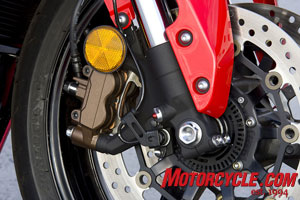 Optional C-ABS on the CBR600RR will only be available in model colors Metallic Black or Red/Black. ABS models will also have bronze colored calipers. Standard model calipers will be black.
