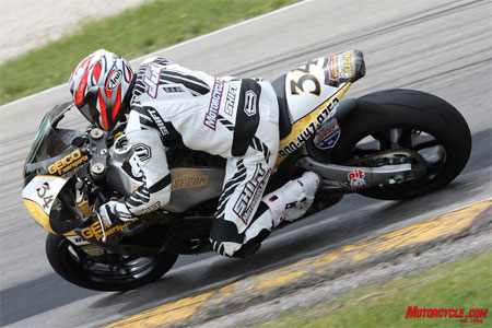 Duke gets warmed up at Road America with a spin on the Rossmeyer GEICO Powersports RMR Buell 1125R Daytona SportBike.