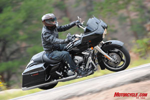 The Road Glide's steering is unaffected by its boxy, frame-mounted fairing.