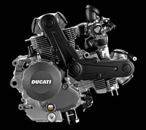 The new Hypermotard 796 engine is more than �just a stroked Monster 696,� according to Ducati. The 803cc L-Twin mill uses new pistons for a higher compression ratio, narrower and therefore lighter crankcases and an 848-type flywheel are part of the updates that give the 796 a claimed 81 hp at the crank.