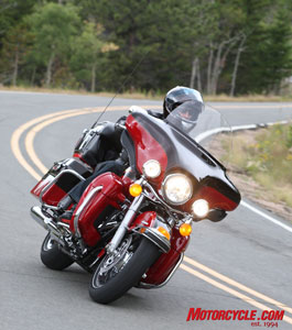 A stiffer frame introduced last year endows Harley's touring bikes with much improved handling qualities.