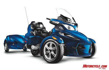 Can-Am's Spyder RT with matching trailer in Orbital Blue.