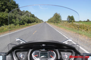 Wide open spaces deserve wide open sightlines; windscreen seen here in its lowest position.