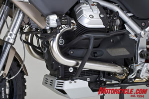 Moto Guzzi's Quattro Valvole engine provides plenty of power, even at high altitudes.
