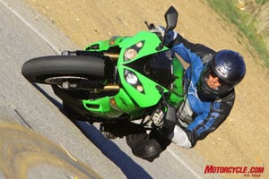 The ZX-6R is at home on a twisty mountain road.