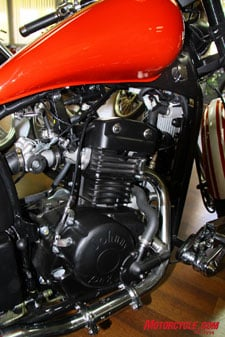 Fuel injection is coming to the Johnny Pag lineup in the future, as this shot of an injected 320cc prototype demonstrates.