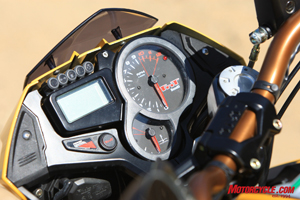 The TnT 1130 utilizes the same dash as on other Benelli 1,130cc models. Note the same Power Control (see Tre-K review) button as on the Tre-K.