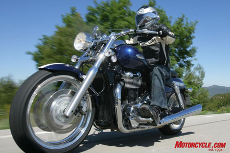 Triumph's Thunderbird twists the cruiser mold by eschewing a V-Twin powerplant in favor of a character-rich parallel-Twin that retains a link with Triumphs of yore. Clean lines penned by an American designer are attractive without being too derivative, and a stout chassis encourages riding on twisty roads instead of avoiding them.