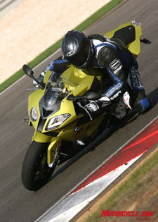 The S1000RR is remarkably easy to hustle around a racetrack, with or without its many electronic rider aids.
