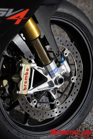 Handling confidence comes from Pirelli Diablo Supercorsa tires, Ohlins suspension and Brembo brakes.