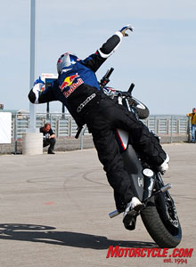 BMW-sponsored multi-time World and European stunt champion, Christian Pfeiffer, kept the large crowd gathered at BMW's expansive vendor row display in awe of his uncanny ability to manipulate a motorcycle.