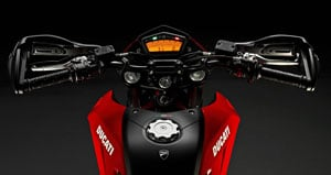 Virtually the same cockpit as on Ducati�s Streetfighter is utilized on the new Hypermotard 796.