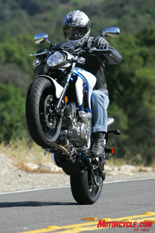 A little finessing of the clutch, and antics like this are cake on the torque-happy Gladius.