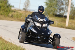 The Spyder RT features the same 998cc engine as its predecessor, but with tour-minded mapping.