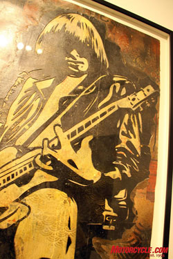 Shepard Fairey was unable to be at the event, but he was represented by his Johnny Ramone artwork.