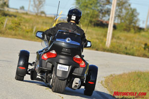 With a rear view it's easy to see the snowmobile heritage in the Spyder RT.