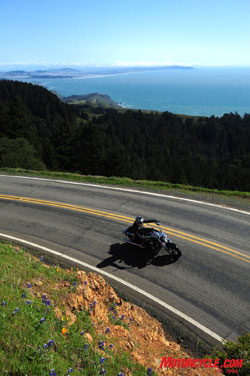 Handy readouts for gear position and remaining fuel range don't get looked at much when you're riding up a road like Mt. Tamalpais.