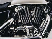 The three valve V-twin has hydraulic valve-lash adjusters for less maintenance.
