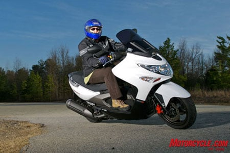 Kymco�s flagship Xciting 500 Ri has optional ABS and its 498.5cc mill is the largest in the Kymco lineup.