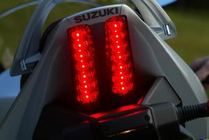 The SV's new 14 LED taillights could use more contrast, between ON and BRAKE