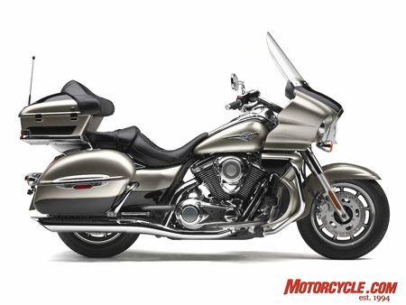 The 2009 Kawasaki Vulcan 1700 Voyager is being touted as the first Japanese full-dress V-Twin touring motorcycle.