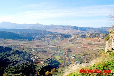 One of the many majestic views from the Cleft of Ronda of the valley just below the town.
