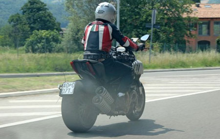 Ducati�s Mega Monster seen undergoing street testing in advance of its debut later this year. (Photo courtesy MotoBlog.it)