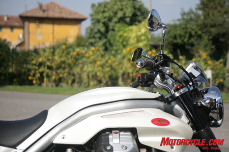 This photo shows off our two favorite aspects of the new Griso: Its distinctive and attractive styling, and its new cylinder heads that allow the Guzzi to soar like the company�s eagle trademark.